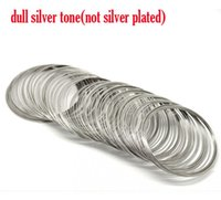 Wholesale Memory Wire Bangle - Retail Silver Tone Memory Beading Wire 60mm Dia.sold per pack of 200 loops