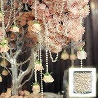 Wholesale meters table - 25 Meters 6mm Ivory White Round Bead Garland Cake Banding Trim Ribbon Wedding Centerpiece Decoration Hair Style