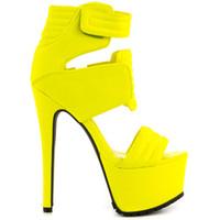 mädchen gelb sandalen großhandel-Gelbe Sandalen Damen Schuh High Heels Wildleder Plattform Sommer Damen Schuhe Pumps Neues Design Mädchen Schuh Binden Gürtelschnallen Flach Mund Stiletto