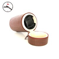 Atacado- Brown PU Leather 3 Modes Automatic Self Winding Box, Watch Storage Tools Round Type Portable Watch Winder