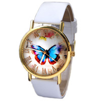 Wholesale Wholesale Ladies Butterfly Tops - Wholesale-2015 New Top Lady Womens Man Fashion Butterfly Print Style Leather Roman Number Band Analog Quartz Wrist Watch Gifts Free Ship
