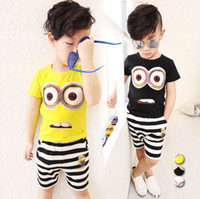 Wholesale Summer Striped Shirts For Boys - Despicable ME Summer Boys Clothing Set Pure Cotton Minions T Shirt + Shorts 2pcs Children Suit 3 Colour 100-140 For Kids Set T437