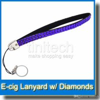 Wholesale Ego New Diamond Batteries - Brand New EGO silk Lanyard with diamond for eGo t eGo w eGo c eGo k 10 colors mixed ego diamond lanyard necklace nice for ego series battery