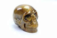 Wholesale Carved Stone Figurines - 80-85g natural yellow Tiger Eye Skull Shape Decoration Natural Stone Carved Figurine Chakra Healing Crystal Feng Shui Reiki With Free Pouch
