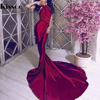 All'ingrosso- Sexy Backless Shiny Satin Deep V Neck aderente Mermaid Wedding Party Dress Halter Vino rosso verde piano lunghezza sera Maxi Dress