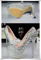 Wholesale Silver Bride Shoes - High Heels Shoes Hot Womens Waterproof and Diamond Ornament Bride Shoes Fashion Lady Comfortable and Non-slip Bridesmaid Shoes