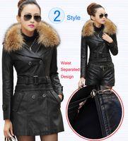 Wholesale Suede Jacket Fur Collar - Wholesale- Leather Coat women New Style Waist Separated Desigan Women Fur Collar Leather Jacket Women suede Coat Female coat plus Size