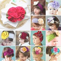 Wholesale Cheap Baby Girl Jewelry - 60 designs baby flower Bouquet Girl's Hair Headbands Bow Headband hair band girl head wrap Elastic Headband Kids Hair Jewelry cheap 201505HX
