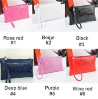 Wholesale Phone Clutch Zip Purse - 8 colors Crocodile pattern Change Wallet Mobile Phone bag Clutch Handbag women purse female Zip Wallet Coin Purses Free DHL