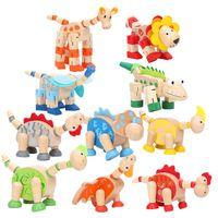hölzerne dinosaurier großhandel-Tier Holzspielzeug Pädagogisches Spielzeug Intelligenz Dinosaurier Cartoon Tiere Holzspielzeug für Kinder Kinder Babyspielzeug