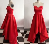 Wholesale High Low Prom Dress Custom - Real Image Gorgeous Red Satin Hi-Lo Prom Dresses Ruffled Party Evening Gowns High Low Graduation Party Dress Affordable Vestidos Custom Made