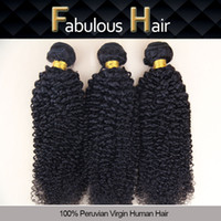 Fabuleux Grade 5A Double Wefted 8-24inch Vierge Kinky bouclés Peruvian Hair Extensions Remy cheveux Trame Unprocessed cheveux humains 3pcs par lot