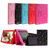 Wholesale Ipad Cases Rhinestones - S5Q Rhinestone Bling Sparkly Leather Flip Case Cover For Apple iPad 4 3 2 Tablet Colors AAACKF
