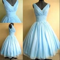 Wholesale Silk Mini Cocktail Dress - Real Photos 50s Style Dresses Light Sky Blue Silk Chiffon Overlay V-Neck Flattering For All Sizes Cocktail Dresses Bridesmaid Dresses