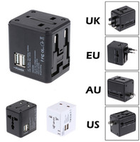 Wholesale Dual Usb Port Wall - USA UK EU AU Plug Universal All In One International Travel Power Adapter Charger With Dual Ports USB Wall Charger 5V 1A