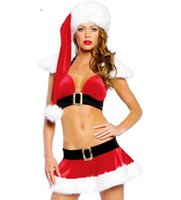 Wholesale Christmas Sexy Suit - Christmas sexy costumes for women Sexy Exposed Breast Hang Neck Suits