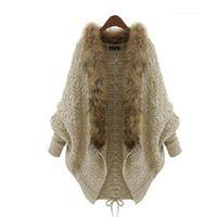 Wholesale Double Breasted Shrug Jacket - 2015 Winter Open Cardigan Poncho Capes Pull Femme Autumn Women Fashion Knitted Wool Sweater Jacket Bat Sleeve Shrug HY925