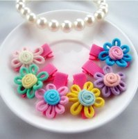 Wholesale Hair Accessory Sunflower Clip - Girl Sunflower Candy Color Barrette Duckbill Clip Children Hair Accessories 6 Colors 10886
