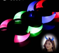 Wholesale Party Box Halloween Costumes - 400PCS Free Shipping DHL Halloween Costume Red LED Light Ladies Devil Horns Headband Halloween Light On Up Devil Horn Custome Red Headband