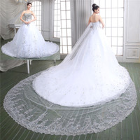 Wholesale cathedral wedding dresses blue - 2015 New Collection Ball Gown Lace Wedding Dresses Bridal Gown With Luxury Real Sample Sweet-heart Full Beads Crystal Top Cathedral Train