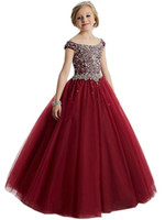 Wholesale Turquoise Formal Ball Gowns - Burgundy Little Girl's Pageant Dresses Birthday Party 2018 Kids Formal Wear Flower Ball Girls Gown Turquoise Beads Crystals Teen Kids 2017