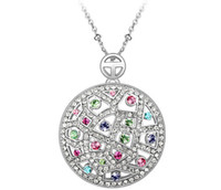 Wholesale Swarovski Crystals For Jewelry - Big Round Necklace 18K Gold Plated Austrian Swarovski Elements Crystal Necklaces Pendants For Women Vintage Brand Jewelry 3546