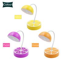 ingrosso lampade da tavolo arancioni-Ricarica USB Decorazione della tavola frutta fresca Desk Lamp Notte flessibile dimmerabile Protezione degli occhi Limone Pitaya Arancione Q0167 Light Shape
