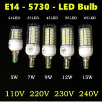 Wholesale Luminaria Led 15w - 100X Lampada LED Bulb 220V Tube 5730 SMD E14 LED Light Lamparas Bombillas LED Lamp Filament luminaria 12W 15W 110V Warm White White