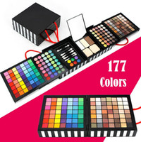 professionelle augenschatten paletten verkauf großhandel-Heißer verkauf professionelle maquiagem lidschatten pulver erröten palette 177 farbe kosmetik anzug make-up lidschatten mit schwamm spiegel