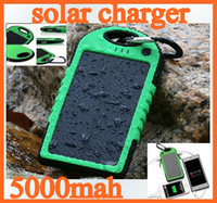 Wholesale Tablet Solar Ipad - 20pcs 5000mAh Dual USB Port Solar Charger portable energy bank mobile power for cellphone PDA tablet PC iphone ipad samsung colorful