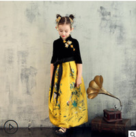 Wholesale Embroidered Cheongsam Dress - Children pageant velvet long dress chinese style girls crowned crane embroidery party dress kids lace jacquard Bows cheongsam dress R1542
