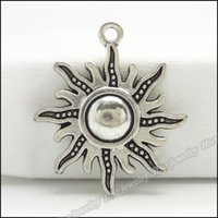 Wholesale Metal Crimp Ends - 70pcs Vintage Charms Sun Pendant Tibetan silver Zinc Alloy Fit Bracelet Necklace DIY Metal Jewelry Findings