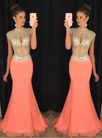 Wholesale Evening Dress Beaded Bust - 2016 African Mermaid Prom Dresses Coral High Beaded Collar Keyhole Bust Rhinestone Chiffon Illusion Bodice Maxi Formal Evening Gowns BA2012