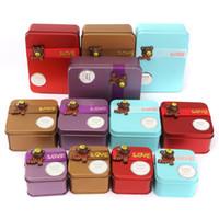 Wholesale Mini Iron Boxes - Wholesale Mini Candy Metal Square Boxes Cartoon Cute Bear Iron Box Small Storage Sweet Tin Creative- Wedding Gift