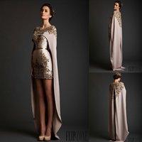 ingrosso nastro di raso oro rosa-Krikor Jabotian Nea Coming Wrap Oro Appliques Ribbon Satin Abiti da sera eleganti personalizzati Made Prom Dresses
