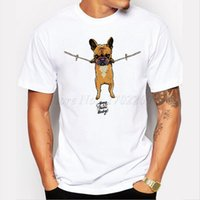 Wholesale Baby Bulldog - Wholesale-cartoon printed French Bulldog Men t-shirt Hang in there Baby men tops short sleeve casual t shirts hipster funny cool tee