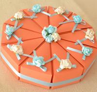 Wholesale Orange Cake Boxes - 100Pcs Lot finished product Cake Boxes Color Blocking Orange Gift Boxes Wedding Favor Holders 2015 Wedding Style