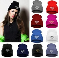 Wholesale Head Cap For Winter - autumn & winter diamond hat for women knitted slouchy beanie Spain gorros womens bonnet Skull Chunky Baggy warm head Cap