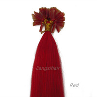 """Wholesale Tip Human Hair Extension Red - Brazilian Human Hair Extensions 7A 15""""-22"""" 100s Red Color, Nail-hair extensions Brazilian Indian Peruvian Malaysian U-tip Remy Human Hair"""