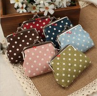 Wholesale vintage mini flower coin purse hot fashion canvas dot small Money Bag Wallet Clutch Handbag hasp clasp Key Holder Small Gifts colors