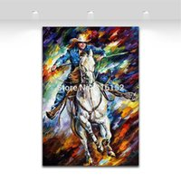 Wholesale Cowboy Oil - Palette Knife Oil Painting Cool Cowboy Picture Printed on Canvas Mural Art Modern Home Hotel Office Wall Decoration