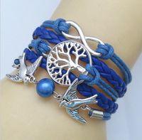 Wholesale Pearl Charm Bracelet Antique - 2017 New Infinity Leather Bracelets 15 Colors Fashion Antique Cross Bracelets For Women Knitting Charm Pearl Bracelets Vintage Jewelry
