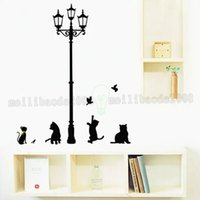 Wholesale Cartoon Pictures For Kids Room - Black Cat Under Street Lamp Home Stickers Cartoon Design Picture Art Peel & Stick Pvc Wall Stickers DIY Vinyl Wall Decal MYY