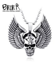Wholesale Skeleton Wing Necklace - BEIER 2016 fashion Punk jewelry wholesale Titanium steel men's pendant Personality fashion forward wing skull sweater chain pendant