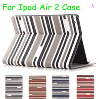 Wholesale Ipad Air Case Stripe - Multi color stripes painted style For iPad air2 air 2 ipad 6 cases slim flip stand card holder protective sleeve leather case
