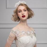 New High Quality Bride Shoulder Chain Bridal Crystals Lace Wraps Wedding Bridal fashion Necklace Jewelry Rhinestones Noble romance Vintage