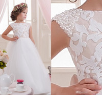 Wholesale Ribbon Flower Appliques - Princess Pearls Beaded Capped SLeeves White Tulle Flower Girl Dresses Puffy Floor Length Ribbon Bow Pageant Gowns With Lace Appliques