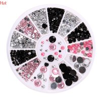 Wholesale 3d Decals For Nails - 12 3D Nail Art Decorations White Pink Grey Women Glitters Diy Rhinestones For Nails Tools Wheel Nail Decal Beads Black White Pink SV026731
