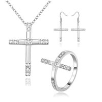Wholesale Silver Cross Earrings Pendant - 925 Sterling silver cross pendant necklace ring Earring Set with Zircon fashion jewelry new design pretty cute wedding gift free shipping