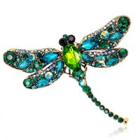 Wholesale Vintage Dragonfly Brooch Rhinestones - Vintage Design Shinny 6 Colors Crystal Rhinestone Dragonfly Brooches for Women Dress Scarf Brooch Pins Jewelry Accessories Gift
